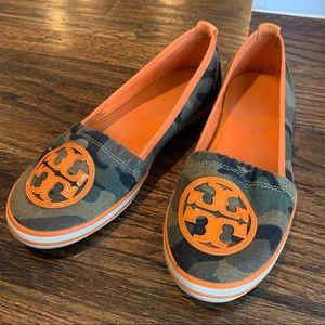 Tory Burch • Camo & Orange Boat Shoes